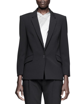 Single-Snap Blazer, X-Drape Check Top & Pleat-Front Low Trousers