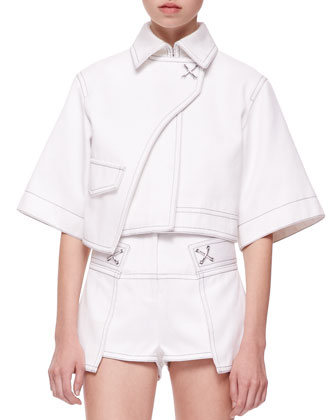 Short-Sleeve Cropped Trench Jacket