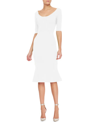 3/4-Sleeve Sheath Dress with Flared Hem, Ivory