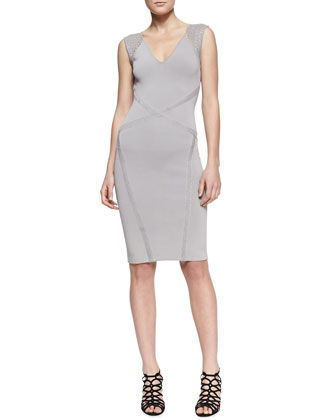 Cross-Seam Sleeveless Sheath Dress