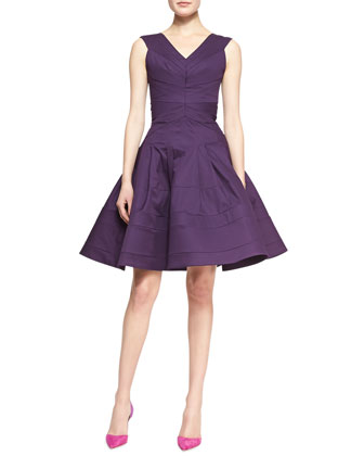 Sleeveless Full-Skirt Dress, Lavender