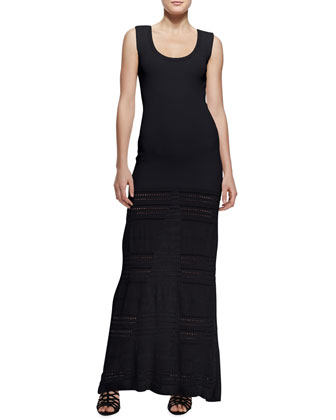 Pointelle-Knit Maxi Dress