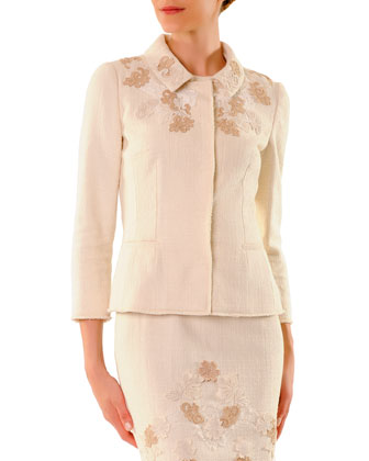 3/4-Sleeve Snap-Front Lace-Applique Jacket