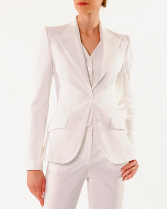 Turlington 2-Button Jacket, Gabardine-Front Satin-Back Vest & Ankle-Length ...