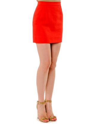High-Waist Cotton Miniskirt
