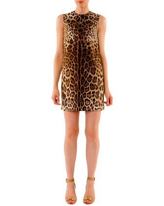 Leopard-Print Mini Shift Dress