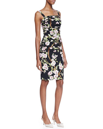 Floral-Print Ruched Sheath Dress