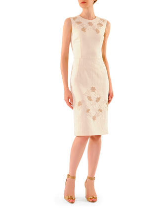Lace-Applique Round-Neck Sheath Dress