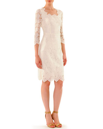 Scalloped Lace Elbow-Sleeve Dress