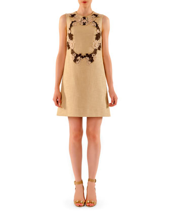 Above-Knee Tweed Dress with Lace Appliques