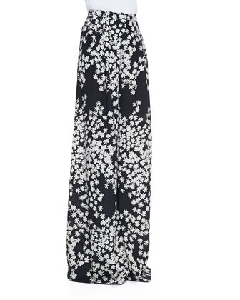 Daisy-Print Sleeveless Ascot Blouse & Wide-Leg Pants