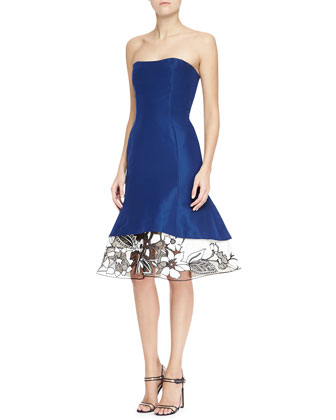 Strapless Silk Cocktail Dress with Flared Embroidered Skirt, Ultramarine