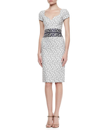 Sweetheart-Neck Sheath Dress, White/Navy