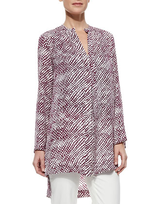Long-Sleeve Printed Cashmere-Silk Tunic