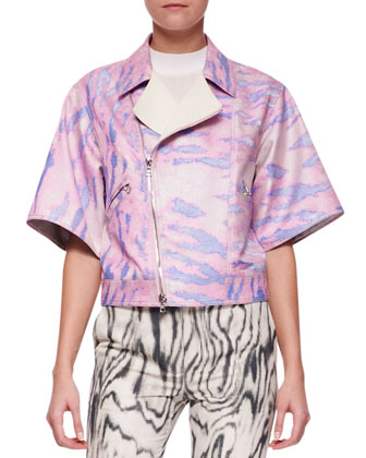 Short Kimono-Sleeve Moto Jacket, Cap-Sleeve Silk Top & Classic Printed ...