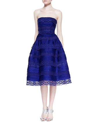 Silk Organza and Lace Tiered Cocktail Dress, Lapis Blue