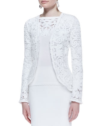 Embroidered Lace Jacket, Crochet Trim Knit Bell-Sleeve Pullover & Pencil Skirt