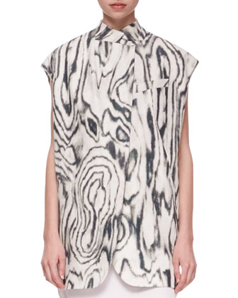 Organic Oversized Printed Vest and Cap-Sleeve Bib Shirtdress