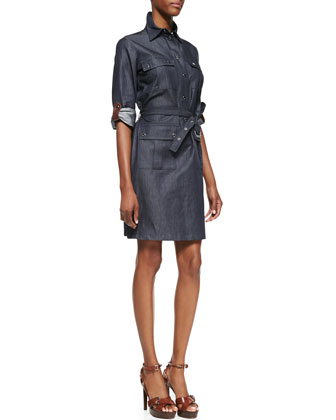 Leather-Trim Cargo Shirtdress