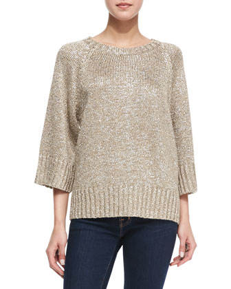 Rib-Trim Metallic Sweater