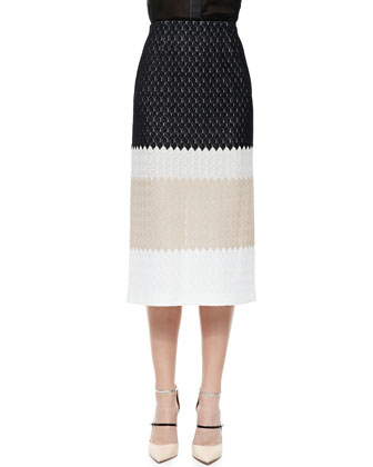 Striped Midi Skirt, Black/Cream/White