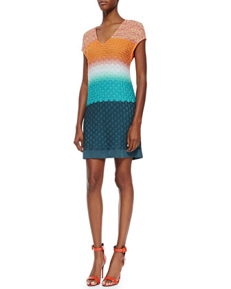 3D Stitched Cap-Sleeve Knit Dress, Orange/Turquoise