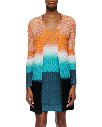 3D Stitched Knit Long Cardigan, Orange/Turquoise