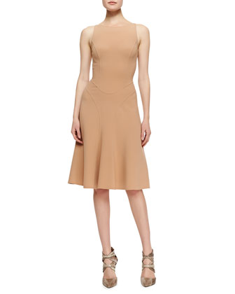 Seamed Stretch-Wool Dress
