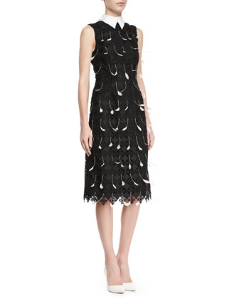 Brenton Sleeveless Collared Dress with Feathers