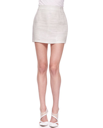 Horizontal-Striped Patent Leather Miniskirt, Ivory