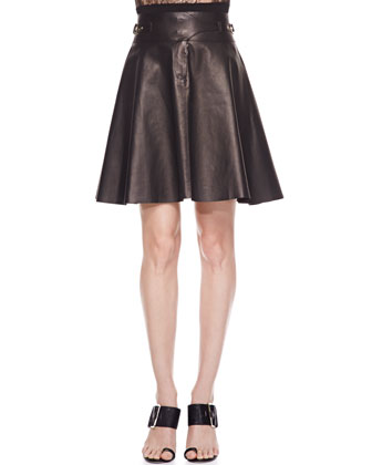 Lace-Striped Long-Sleeve Top & Buckled Lambskin Leather Skirt