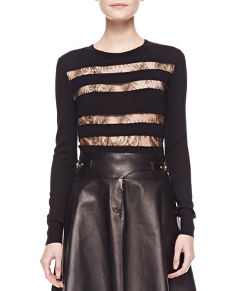 Lace-Striped Long-Sleeve Top, Black