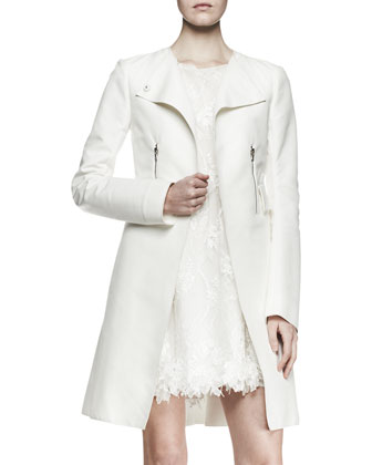 Zip-Pocket Topper Coat and Sleeveless Lace Babydoll Dress