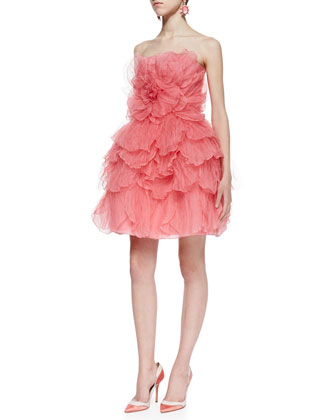 Strapless Tulle Flower Cocktail Dress, Sorbet