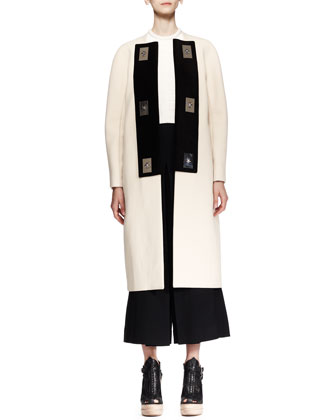 Bicolor Turn-Lock Coat, Cropped Plisse Shell & High-Waist Cropped Gaucho Pants