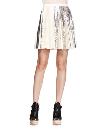 Pleated Foil Short Skirt