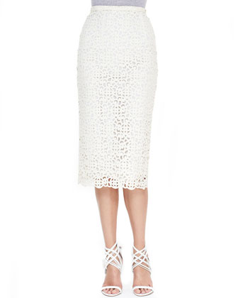 Curlicue Embroidered Midi Skirt, White