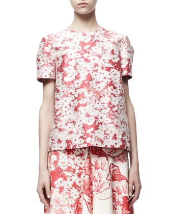 Short-Sleeve Daisy Jacquard Top & Soft Pleated Floral Skirt