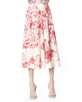 Soft Pleated Floral Skirt, Cream/Chili