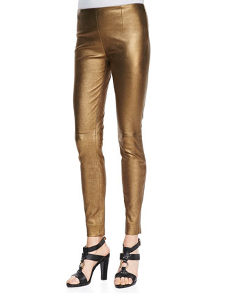 Metallic Leather Skinny Pants