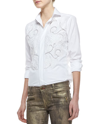 Luxury Broadcloth Embroidered Shirt