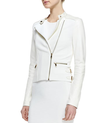 Ribbed Knit and Leather Moto Jacket & Sleeveless Sheath Ribbed Dress