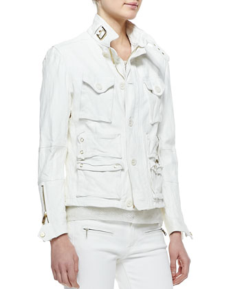Heavy-Wash Lambskin Jacket, Boat-Neck Modern Netting Top, Teaser Tank Top & ...