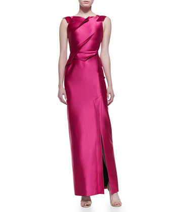 Laurel Folded Lacquered-Satin Gown