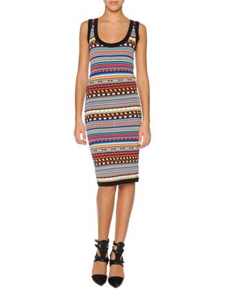 Tribal-Print Sheath Dress, Black/Multi