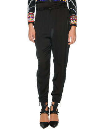 Silk Harem Pants, Black
