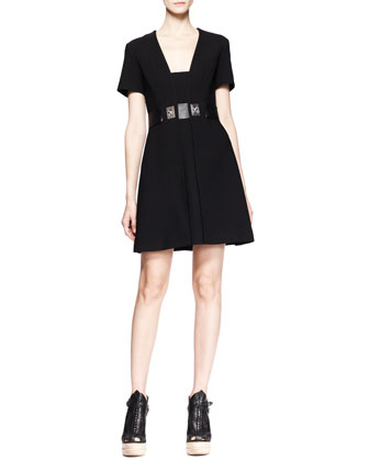 Short-Sleeve Turn-Lock-Waist Dress