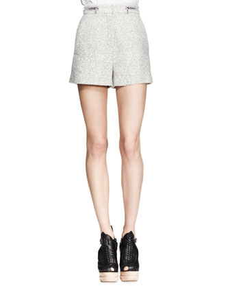 High-Waist Tweed Zip Shorts