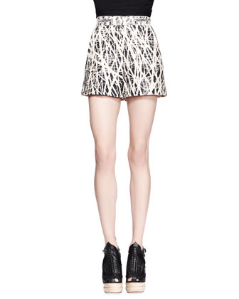 Branch-Print High-Waist Shorts