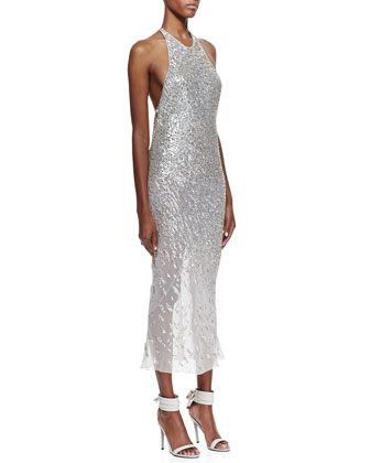 Sequined Silk Halter Dress